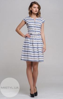 Платье Lafilazzi 2945 Белый/Хаки/Полоска