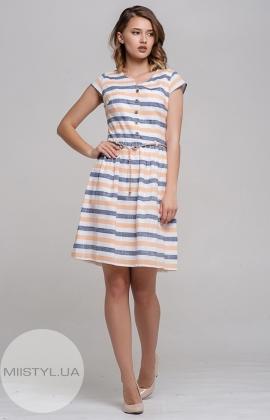Платье Lafilazzi 2945 Белый/Желтый/Полоска