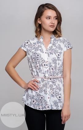 Блуза Moda Linda 1649 Белый/Пудра/Принт