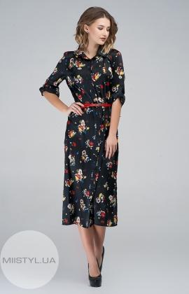 Платье Macca 8S812 Черный/Красный/Принт