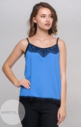 Блуза La Fama 1107 Васильковый/Черный