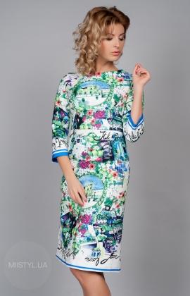 Платье Lilium 1885 бело/голубой принт