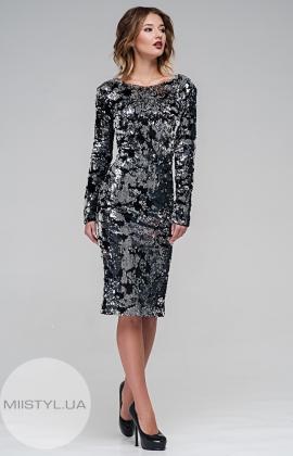 Платье Green World 6819 Черный/Серебристый