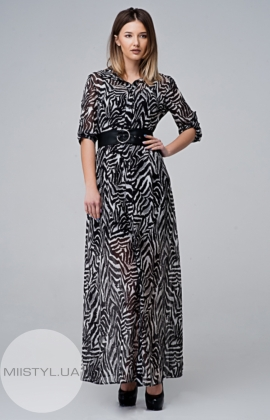 Платье Macca 8S819 Черный/Серый/Принт