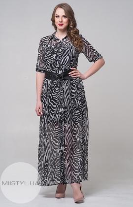 Платье Macca 8S819-B Черный/Серый/Принт