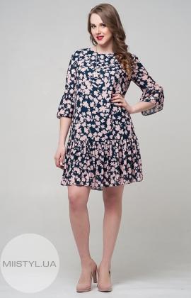 Платье Lady Form 10614 Темно-синий/Пудра/Принт