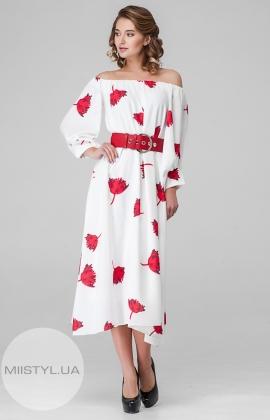 Платье Dojery 85536 Белый/Красный/Принт