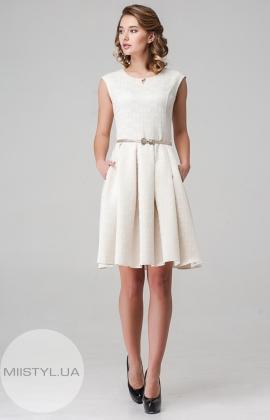 Платье Lafilazzi 3598 Молочный/Молочный/Горох