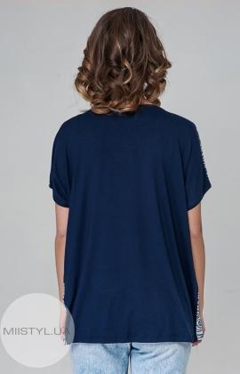 Блуза PB 2607 Темно-синий/Серый/Принт
