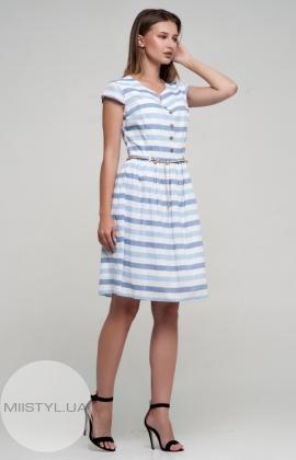 Платье Lafilazzi 2945 Белый/Голубой/Полоска