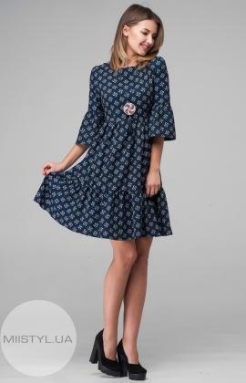 Платье La Fama 1034 Темно-синий/Пудра/Принт