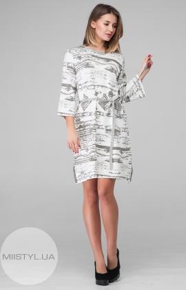 Платье Serianno 10C3674 Молочный/Серый/Принт