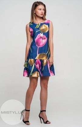 Платье La Fama 1136 Синий/Принт