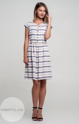 Платье Lafilazzi 2945 Белый/Бежевый/Полоска