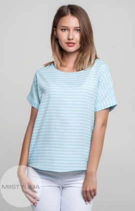 Блуза Pretty Lolita 12444 Белый/Голубой/Полоска