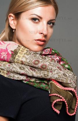 Шарф Lili 2015-5 хаки/розовый принт