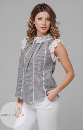 Блуза KaMei 8950 Черный-Белый/Полоска