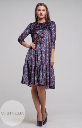 Платье Mira Mia 19k6061 Темно-серый/Красный/Принт