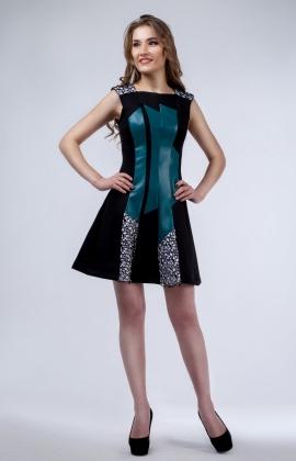 Платье Rica Mare RM190-14VC Черный/Зеленый