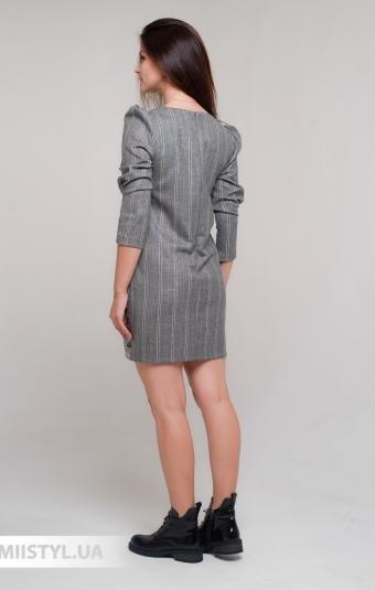 Платье Lady Form 7026 Серый/Белый/Полоска