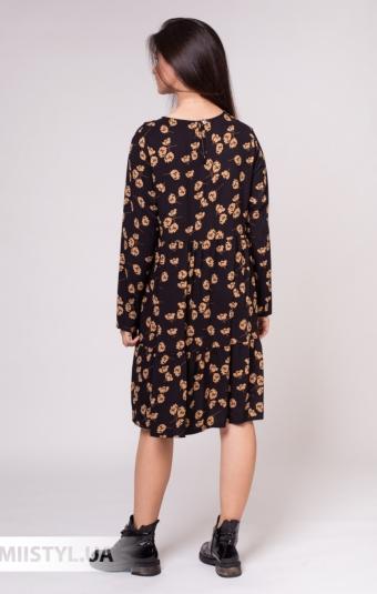 Платье Zelante 7379 Черный/Бежевый/Принт