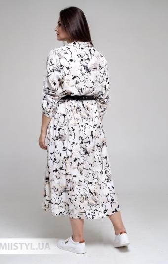 Платье DZYN 9131B Белый/Бежевый/Принт