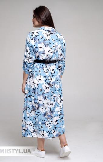 Платье DZYN 9131B Белый/Голубой/Принт