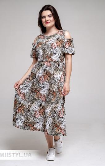 Платье GrimPol 2118 Оливковый/Принт
