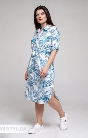 Платье Рута С 4306ВС Белый/Голубой/Принт
