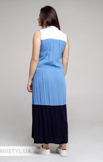 Платье Рута С 4436ВС Белый/Голубой