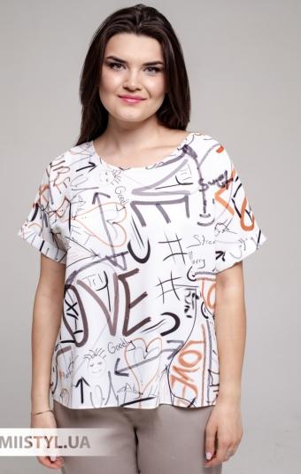 Блуза Pretty Lolita 13385 Молочный/Терракотовый/Принт