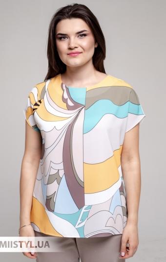 Блуза Merkur 0916104 Белый/Желтый/Принт