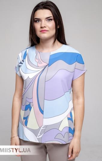 Блуза Merkur 0916104 Белый/Голубой/Принт