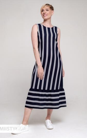 Платье Рута С 4382ЛН Темно-синий/Белый/Полоска