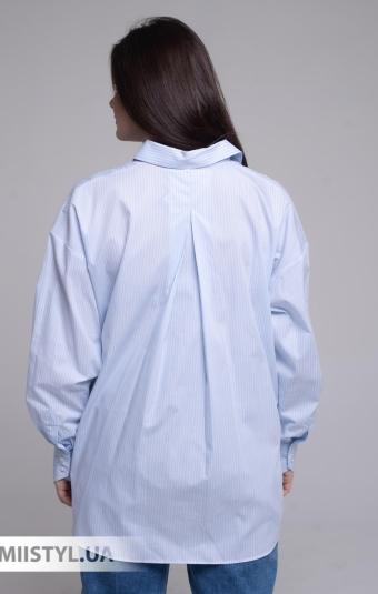 Блуза Ingvar BL-10-391 Голубой/Белый/Полоска