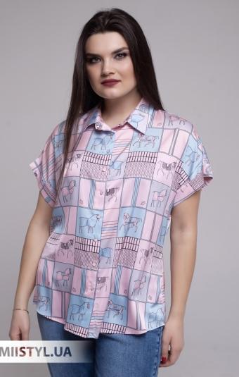 Блуза Merkur 0876102 Белый/Розовый/Принт