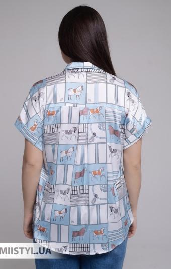 Блуза Merkur 0876102 Белый/Голубой/Принт