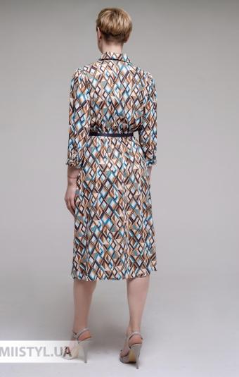 Платье Body form 2038 Коричневый/Бирюзовый/Принт