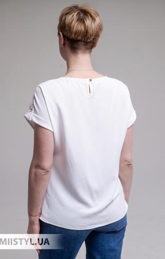 Блуза F&K 4002 Молочный/Джинсовый/Принт