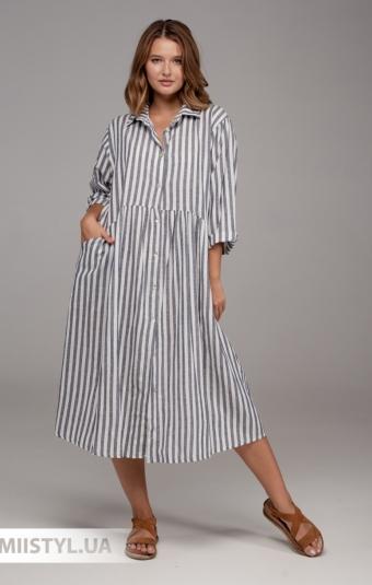 Платье Puro Lino 8975 Белый/Синий/Полоска