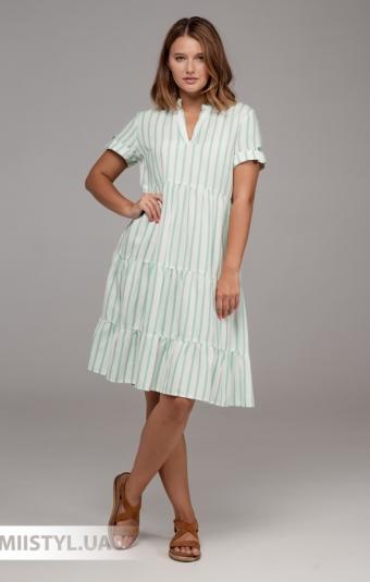 Платье Sisline 4815 Белый/Мятный/Полоска