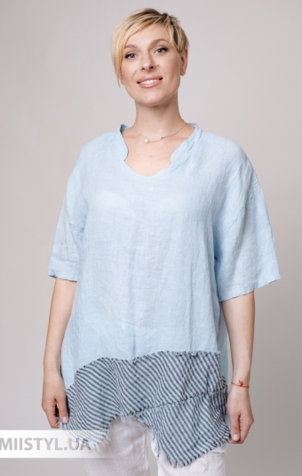 Блуза Miss Cocco 6037 Голубой/Черный/Полоска