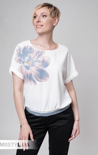 Блуза Fusion 53927M Белый/Пудра/Принт