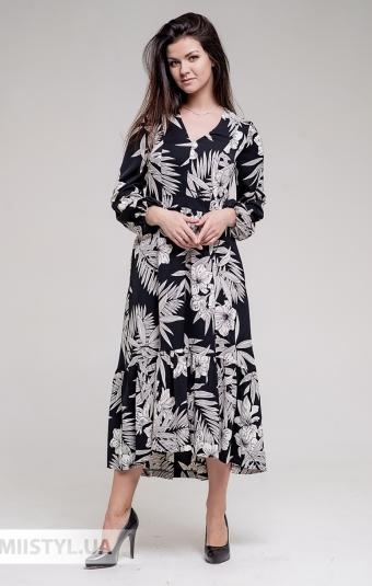 Платье GrimPol 2017 Черный/Принт