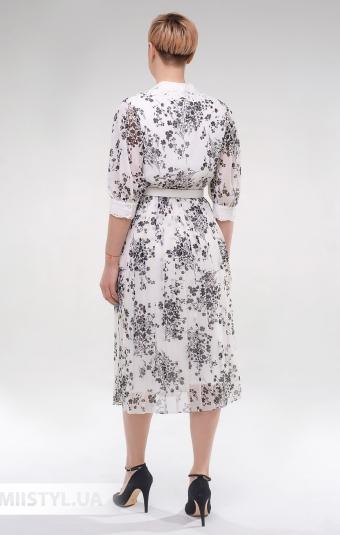 Платье DZYN 9126 Молочный/Черный/Принт