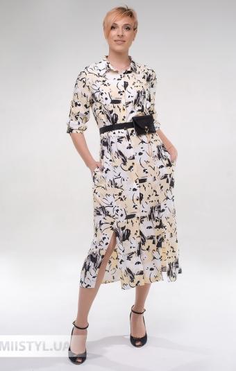 Платье DZYN 9131 Белый/Желтый/Принт