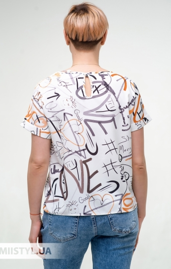 Блуза Pretty Lolita 13384 Молочный/Терракотовый/Принт