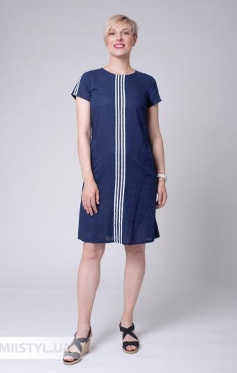 Платье Рута С 4384ЛН Темно-синий/Принт