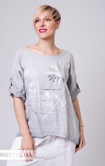 Блуза Miss Cocco 1396/1 Серый/Принт