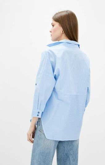 Блуза RM2296-21DB Голубая/Полоска